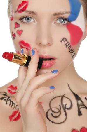 stage makeup: Portrait of woman with lipstick on theme of Paris isolated on white Stock Photo