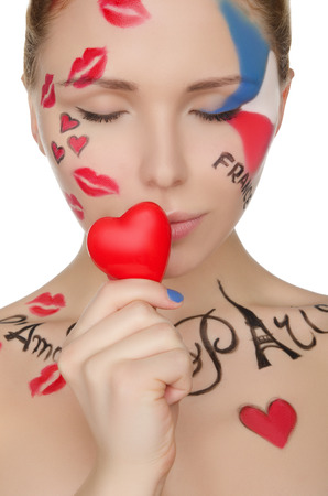 one person only: beautiful woman with make-up on topic of France isolated on white Stock Photo