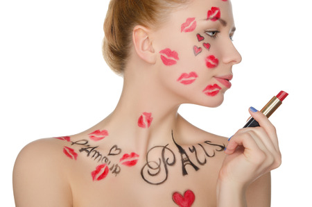 fantasy makeup: Beautiful woman with face art on theme of Paris isolated on white Stock Photo