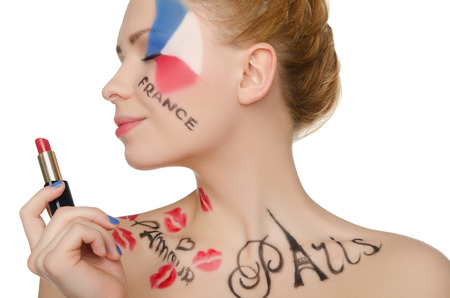 stage makeup: happy woman with makeup on theme of Paris isolated on white