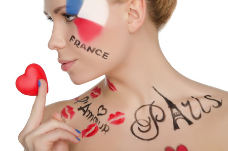 'one woman only': charming woman with make-up on topic of France isolated on white