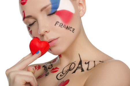 stage makeup: Portrait of beautiful woman to French theme isolated on white