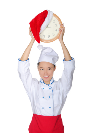 emote: Happy asian chef with clock and Christmas hat isolated in white