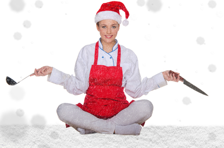 Cook in Santa hat, yoga, knives and snow on white background