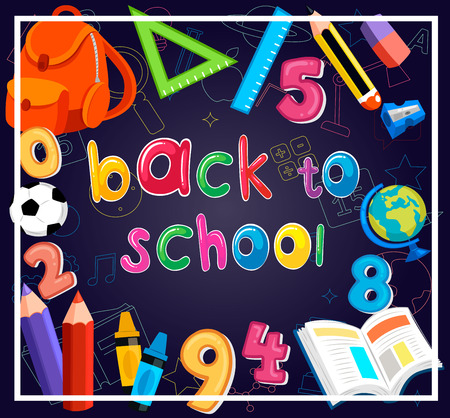 Illustration of back to school background with school supplies.