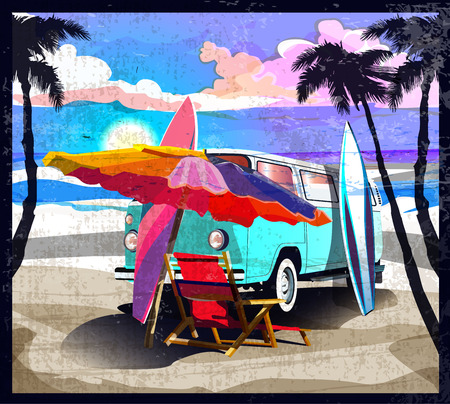 Surfer orange bus, van, camper with surfboard on the tropical beach. Poster California palm trees and blue ocean behind. Retro illustration of modern design, isolated, vector.