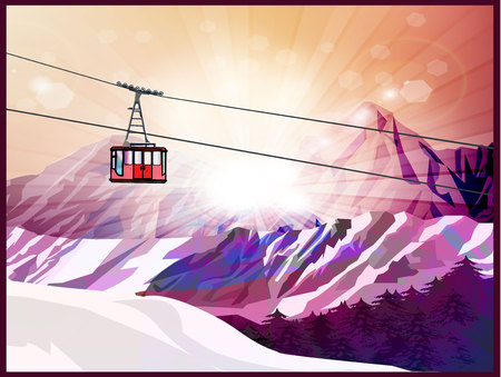 Ski lift mountains and forest