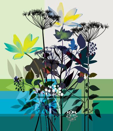 Stylized Plant On a white-blue background 向量圖像