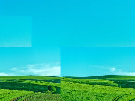 Spring landscape in the mountains. Crops, grassy fields and hills. rural landscape.