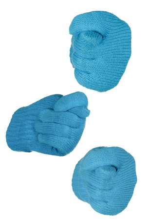 the opponent: figure of three fingers, expressing denial, rejection, napriyazn to the opponent, the hand in a blue glove knitting on a white background  Stock Photo