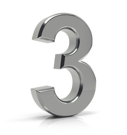 Number 3 isolated over white background. Standard-Bild