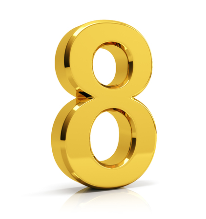 Number 8 isolated over white background. Banco de Imagens