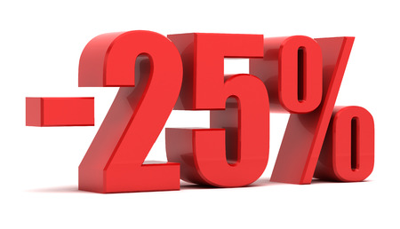 25 percent discount isolated on white background. 版權商用圖片