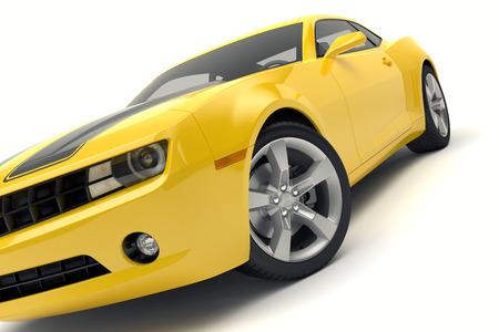 白い背景に隔離された黄色のスポーツカー