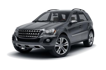 Black SUV isolated on white background.