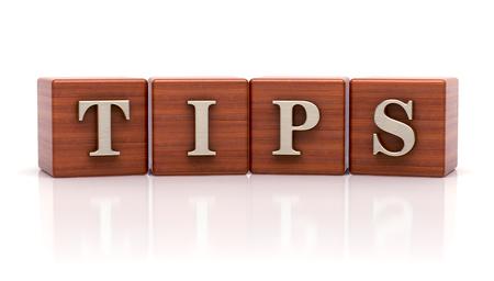 Tips written on wooden cubes