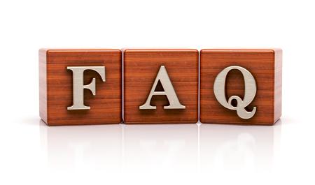 Word FAQ written on wooden cubes