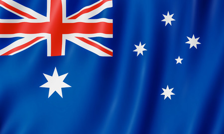 Flag of Australia. 3D illustration of the Australian flag waving.