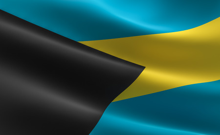 Flag of Bahamas. 3D illustration of the Bahamas flag waving.