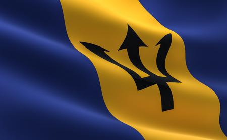Flag of Barbados. Illustration of the Barbados flag waving.