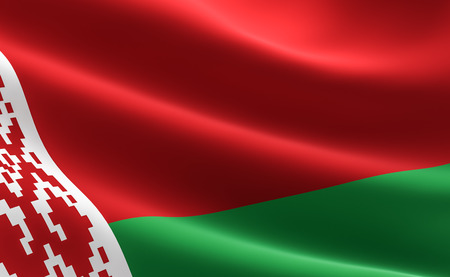 Flag of Belarus. 3D illustration of the Belarus flag waving. 版權商用圖片