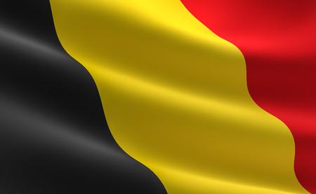 Flag of Belgium. 3D illustration of the Belgium flag waving.