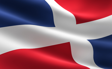 Flag of Dominican Republic. 3D illustration of the Dominican Republic flag waving. Фото со стока
