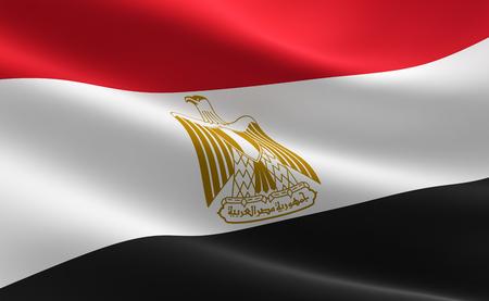 Flag of Egypt. Illustration of the Egyptian flag waving.
