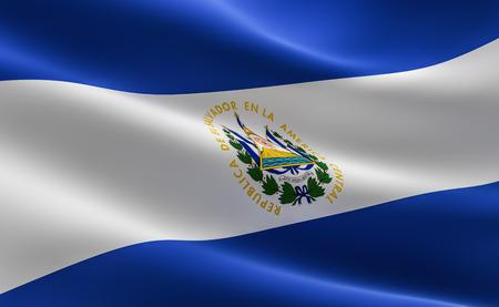 Flag of El Salvador. 3D illustration of the El Salvador flag waving.