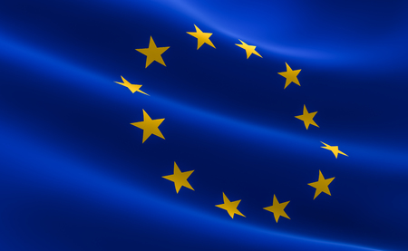 Flag of European Union. Illustration of the EU flag waving.