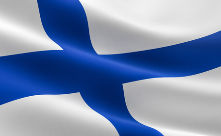 Flag of Finland. illustration of the Finnish flag waving.