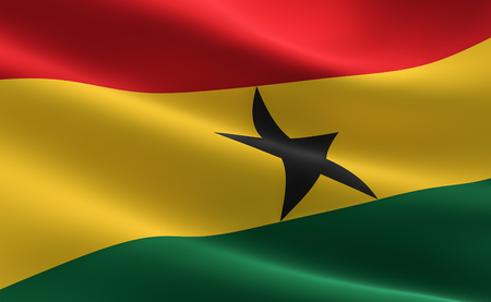 Flag of Ghana. illustration of the Ghana flag waving.