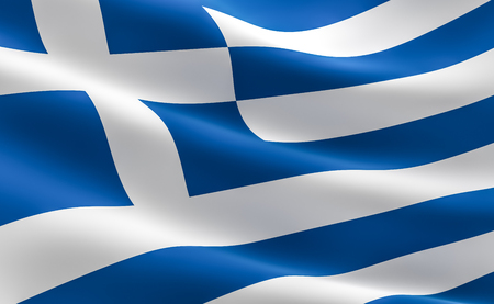 Flag of Greece. illustration of the Greek flag waving.