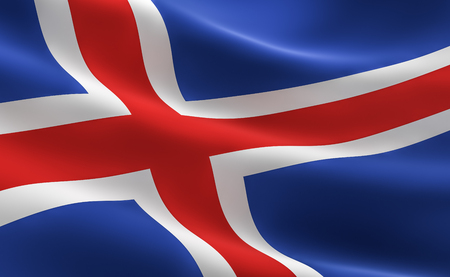 Flag of Iceland. illustration of the Iceland flag waving.