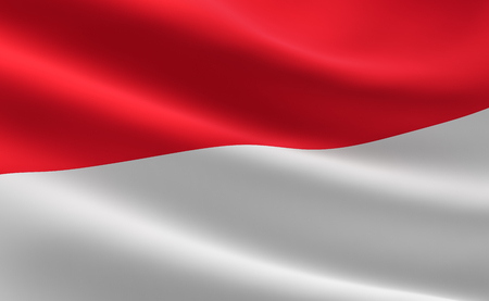 Flag of Indonesia. illustration of the Indonesian flag waving.