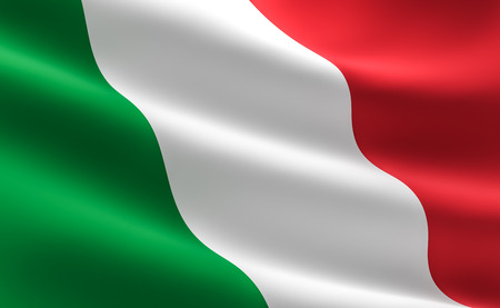 Flag of Italy. illustration of the Italian flag waving. Imagens