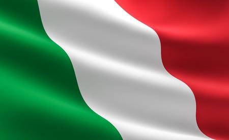 Vlag van Italië. illustratie van de Italiaanse vlag zwaaien.