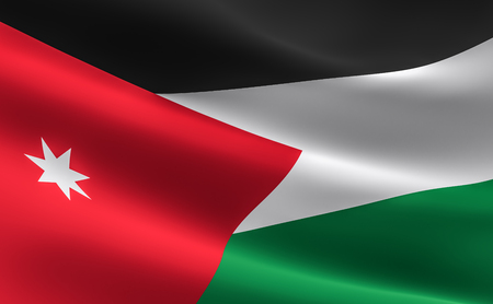 Flag of Jordan. illustration of the Jordanian flag waving.