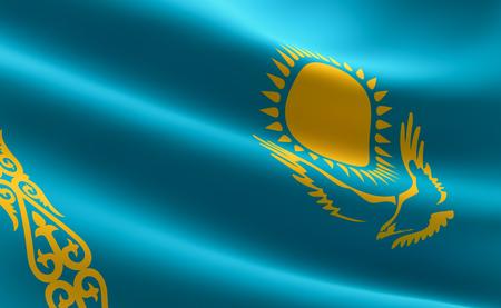 Flag of Kazakhstan. illustration of the Kazakh flag waving.