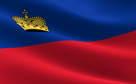 Flag of Liechtenstein. Illustration of the Liechtenstein flag waving. Stock Photo