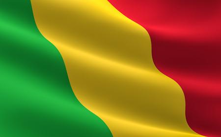 Flag of Mali. Illustration of the Mali flag waving. Stock Photo