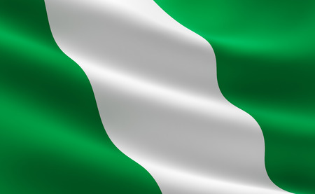 Flag of Nigeria. Illustration of the Nigerian flag waving. Banco de Imagens