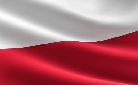 Flag of Poland. Illustration of the Polish flag waving. Archivio Fotografico