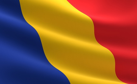 Flag of Romania.  Illustration of the Romanian flag waving.