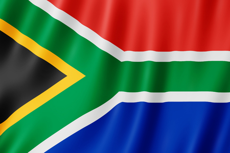 Flag of South Africa. Illustration of the South African flag waving. 스톡 콘텐츠