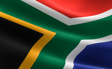 Flag of South Africa. Illustration of the South African flag waving. Banco de Imagens