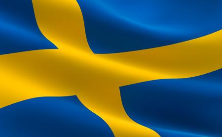 Flag of Sweden. Illustration of the Swedish flag waving.