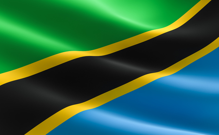 Flag of Tanzania. Illustration of the Tanzanian flag waving. Stock Photo