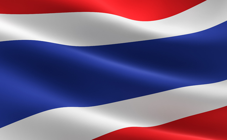 Flag of Thailand. Illustration of the Thai flag waving.