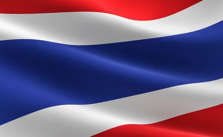 Flag of Thailand. Illustration of the Thai flag waving.